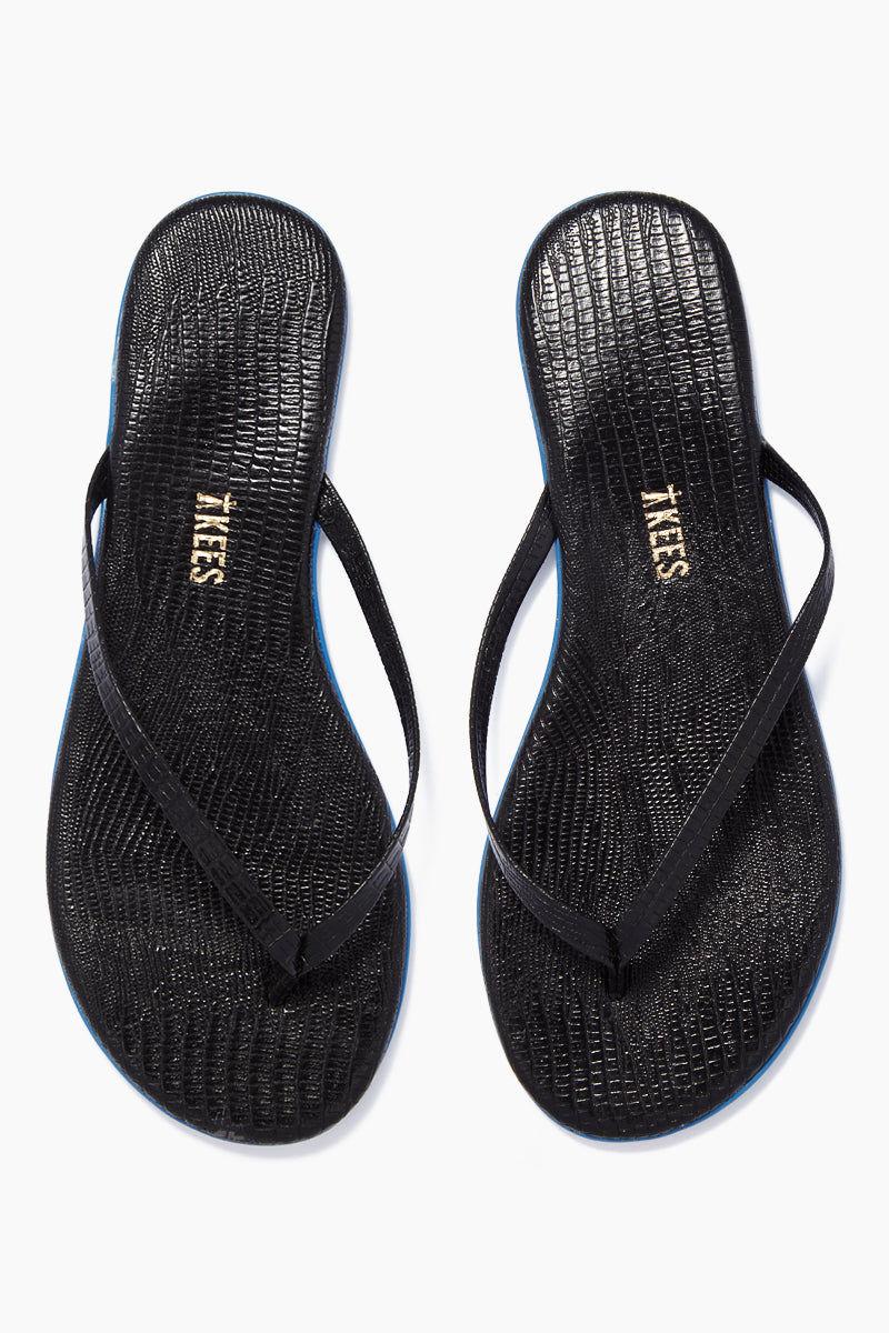 TKEES Lipliners Sandals - Night Glow Sandals | Night Glow| TKEES Lipliners Sandals - Night Glow Classic Flip Flops In Black Snakeskin  Made in Brazil Front View