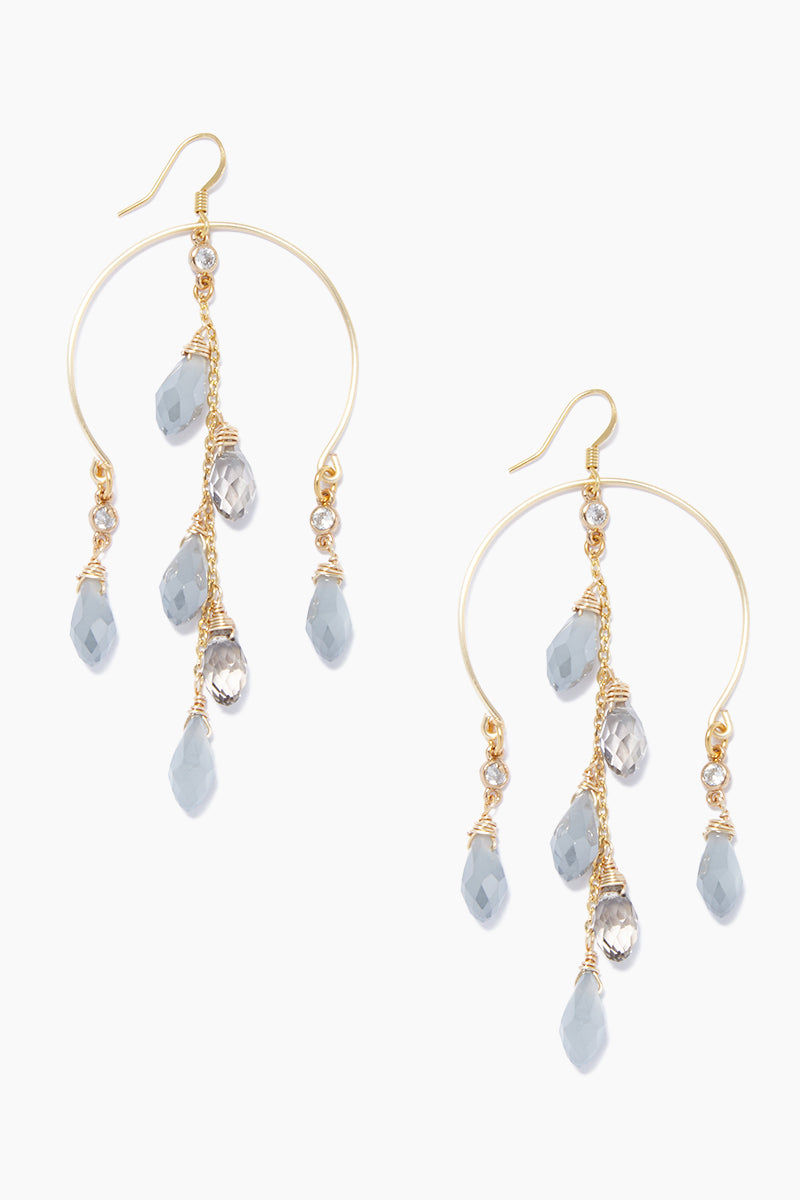 GEMELLI JEWELRY Luxe Earrings - Gray/Smoke Jewelry | Gray/Smoke| Gemelli Jewelry Luxe Earrings - Gray/Smoke. Features:  Gold plated earrings Quartz crystal accent Fish-hook closure Front View