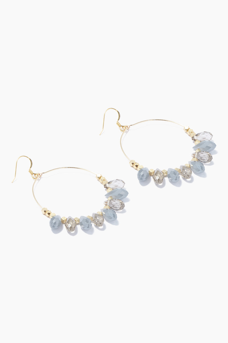 "GEMELLI JEWELRY Carson Earrings - Gray/Smoke Jewelry | Gray/Smoke| Gemelli Jewelry Carson Earrings - Gray/Smoke Gold plated 2"" hoops Gray quartz drops . Features:  Gold plated 2"" hoops quartz drops Side View"