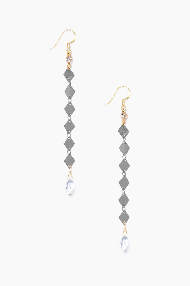 GEMELLI JEWELRY Fay Earrings - Gunmetal Jewelry | Gunmetal| Gemelli Jewelry Fay Earrings - Gunmetal Drop earrings Crystal accents  Fish-hook closures  Front View