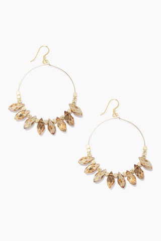 "GEMELLI JEWELRY Carson Earrings - Gold Jewelry | Gold| Gemelli Jewelry Carson Earrings - Gold. Gold plated 2"" hoops Quartz drops Front View"