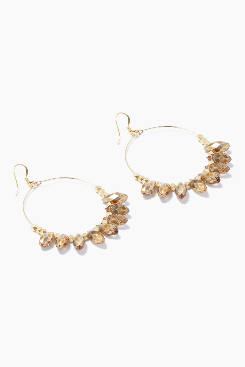 "GEMELLI JEWELRY Carson Earrings - Gold Jewelry | Gold| Gemelli Jewelry Carson Earrings - Gold. Gold plated 2"" hoops Quartz drops Side View"