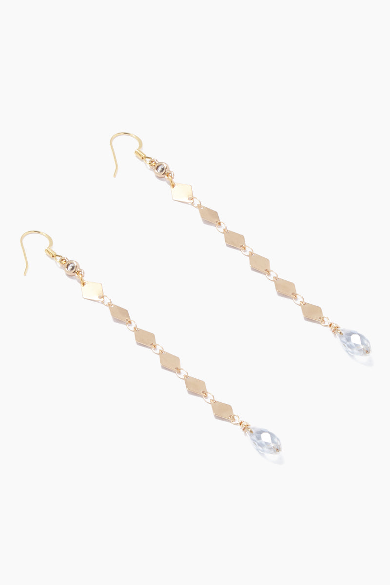 GEMELLI JEWELRY Fay Earrings - Gold Jewelry | Gold| Gemelli Jewelry Fay Earrings - Gold. Features:  drop earrings crystal accents  fish-hook closures  Front View