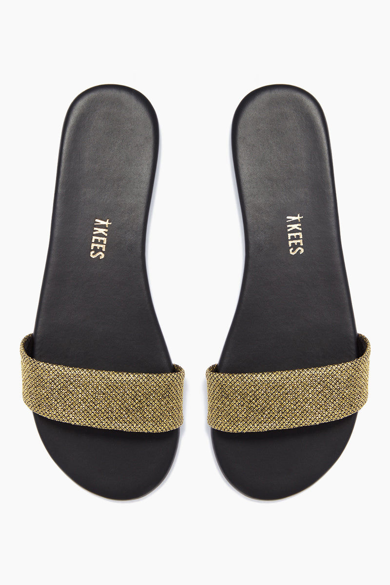 TKEES Alex Slide Sandals - Fierce Sandals | Fierce| TKEES Alex Sandals - Fierce Thick Sparkly Gold Sandal Strap  Cowhide Leather Upper Cowhide Leather Insole Rubber Outsole Made in Brazil Front View