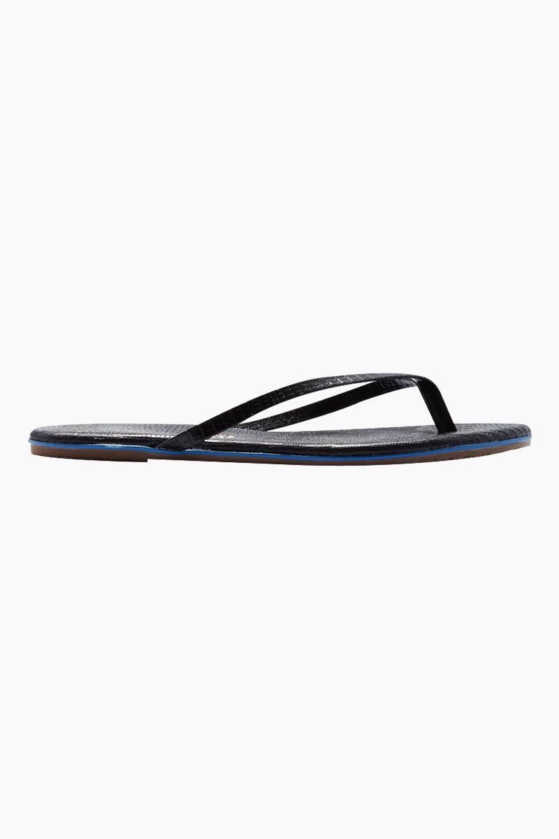 TKEES Lipliners Sandals - Night Glow Sandals | Night Glow| TKEES Lipliners Sandals - Night Glow Classic Flip Flops In Black Snakeskin  Made in Brazil Side View