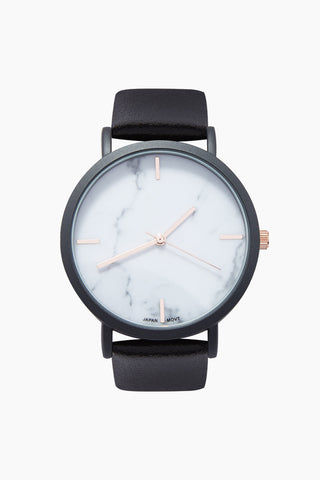QRTZ Blake Marble Watch W/ Faux Leather Strap - Black/Marble Accessories | Black/Marble| QRTZ Blake Marble Watch W/ Faux Leather Strap - Black/Marble