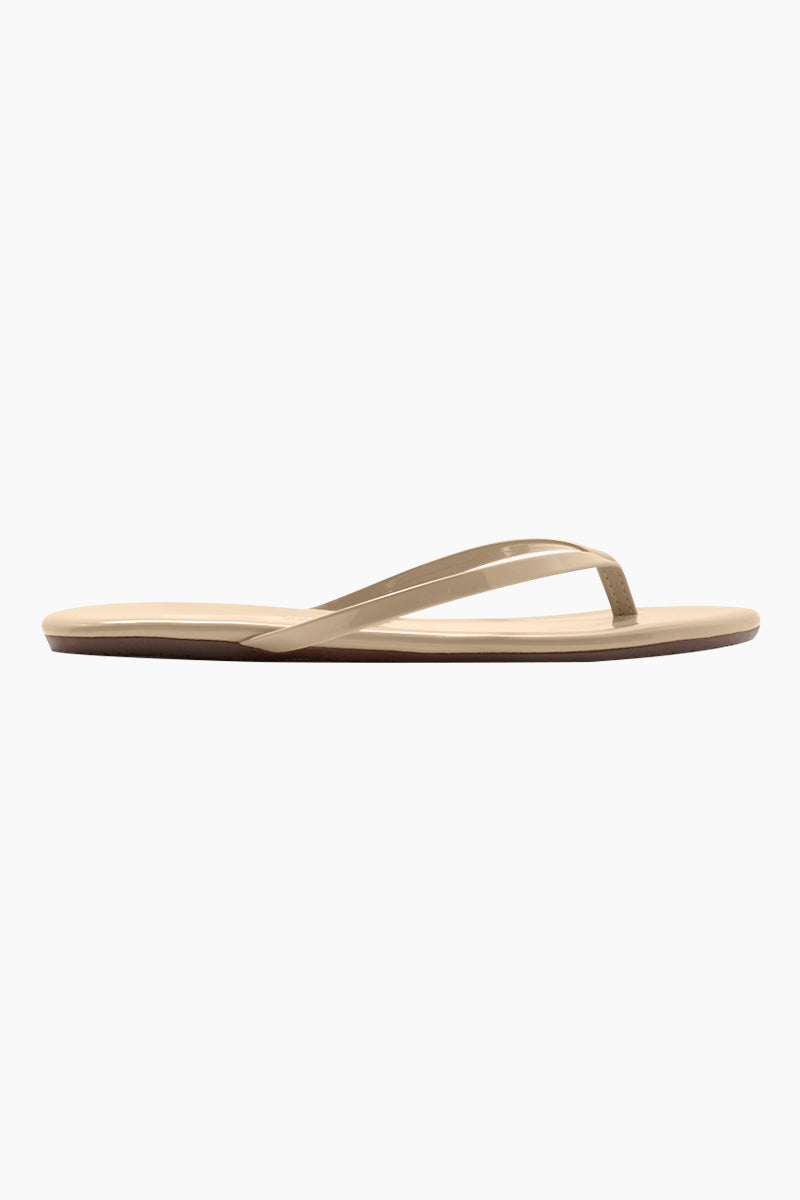 TKEES Foundations Gloss Sandals - Sunkissed Sandals | Sunkissed| TKEES Foundations Gloss Sandals - Sunkissed Fair Skin Tone Flip Flops Made in Brazil    Material:  Cowhide Leather Upper Cowhide Leather Insole Rubber Outsole Side View