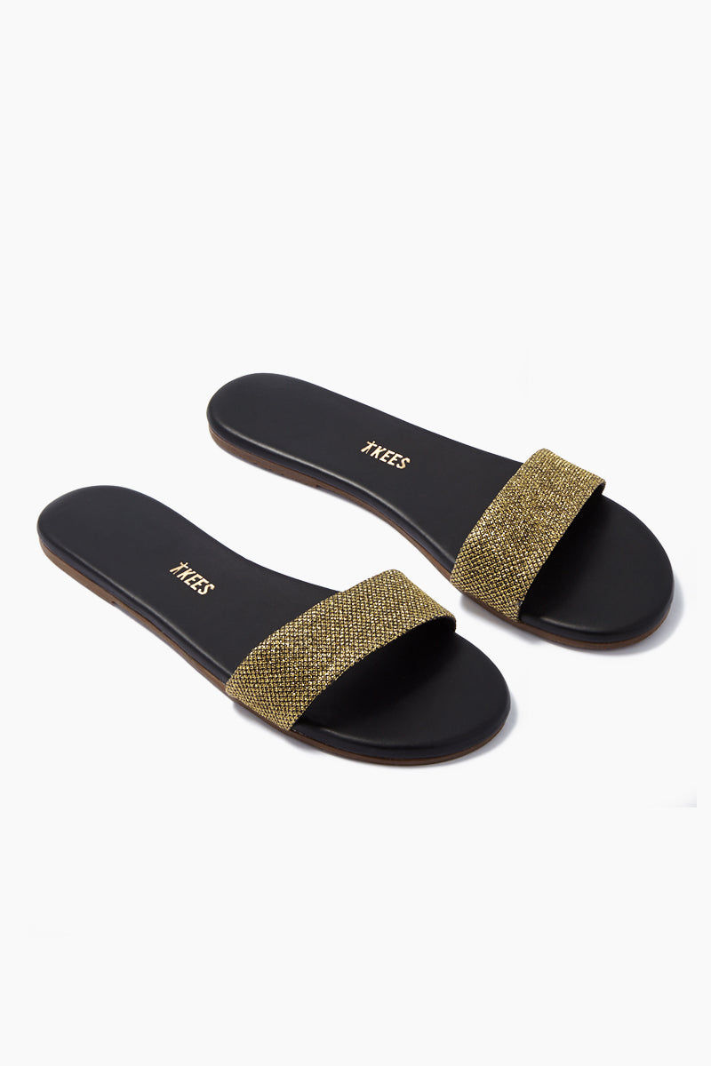 TKEES Alex Slide Sandals - Fierce Sandals | Fierce| TKEES Alex Sandals - Fierce Thick Sparkly Gold Sandal Strap  Cowhide Leather Upper Cowhide Leather Insole Rubber Outsole Made in Brazil Side View