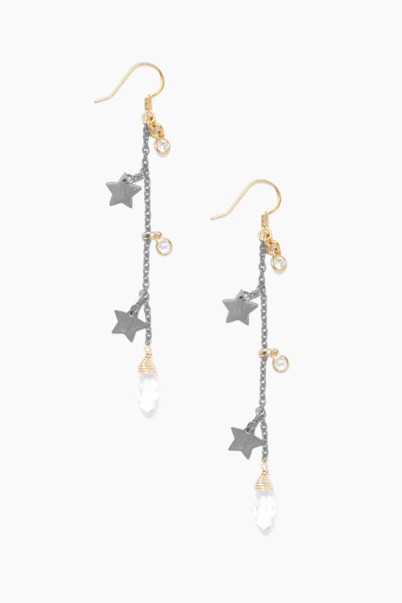 GEMELLI JEWELRY Star Fall Earrings - Gunmetal Jewelry | Gunmetal| Gemelli Jewelry Star Fall Earrings - Gunmetal. Features:  Drop earrings Star and crystal accents Fish hook closure Front View