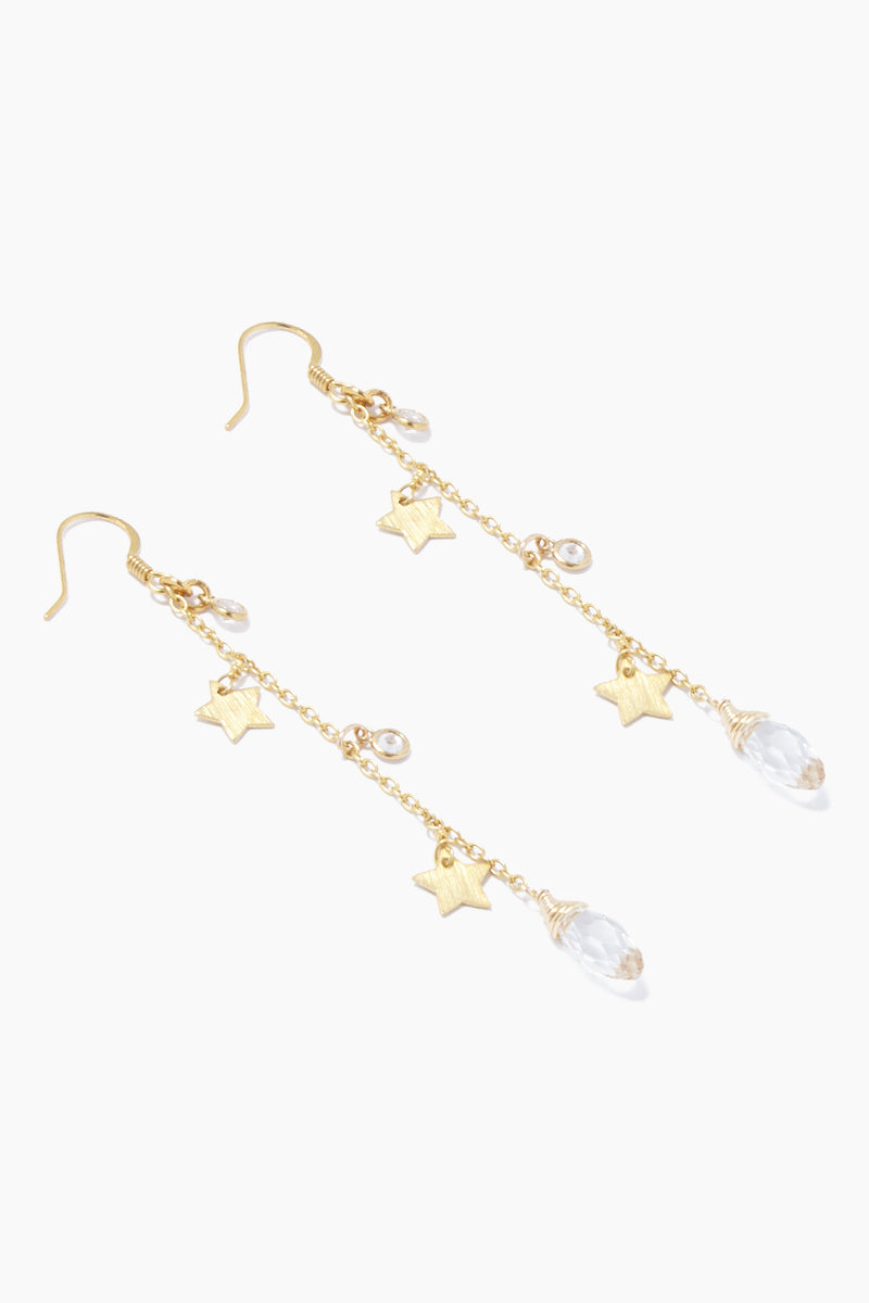 GEMELLI JEWELRY Star Fall Earrings - Gold Jewelry | Gold| Gemelli Jewelry Star Fall Earrings - Gold. Features:  Drop earrings Star and crystal accents Fish hook closure Front View