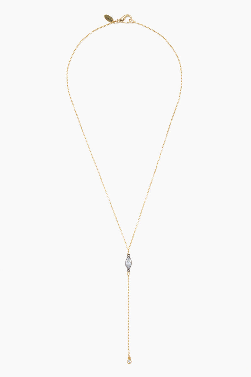 GEMELLI JEWELRY Pixie Necklace - Gunmetal Marquee CZ Jewelry | Gunmetal Marquee CZ| Gemelli Jewelry Pixie Necklace - Gunmetal Marquee CZ. Features:  Gold plated Y necklace Crystal charms Lobster claw closure Front View