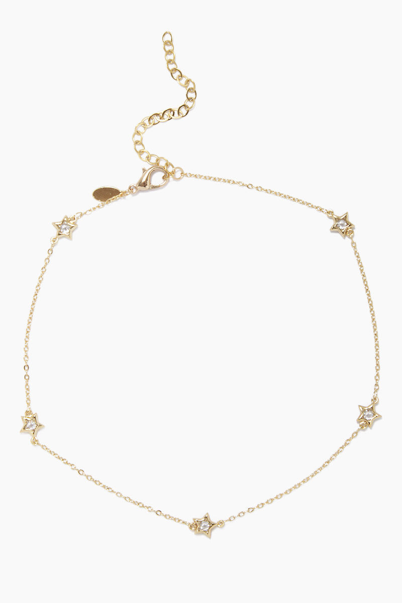 GEMELLI JEWELRY Pow! Necklace - Gold Jewelry | Gold| Gemelli Jewelry Pow! Necklace - Gold. Features:  Star accent Quartz crystal detailing Adjustable lobster claw closure Front View