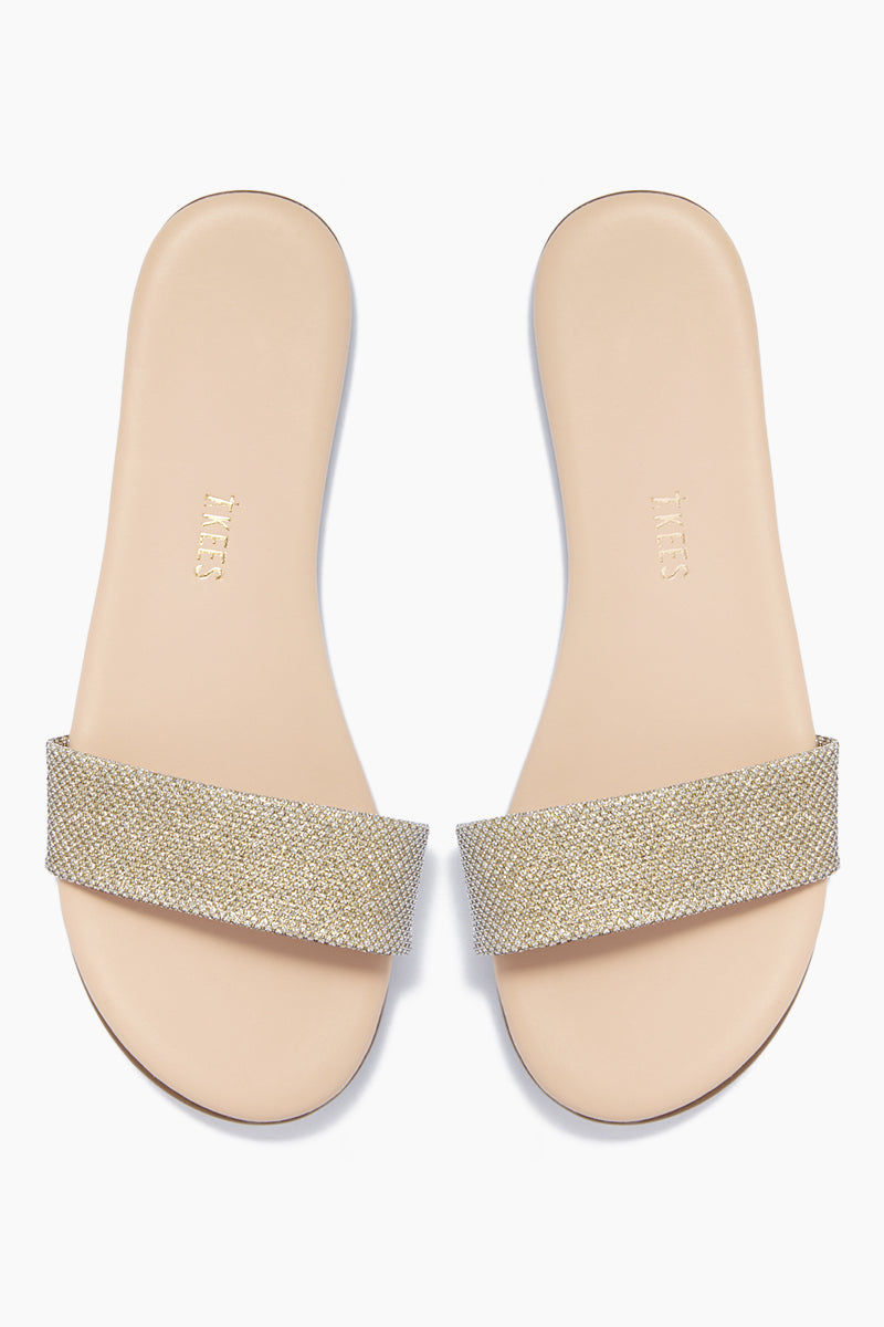 TKEES Alex Slide Sandals - Flawless Light Gold Sandals | Flawless Light Gold| TKEES Alex Sandals - Flawless Light Gold Thick Sparkly Gold Sandal Strap  Cowhide Leather Upper Cowhide Leather Insole Rubber Outsole Made in Brazil Front View