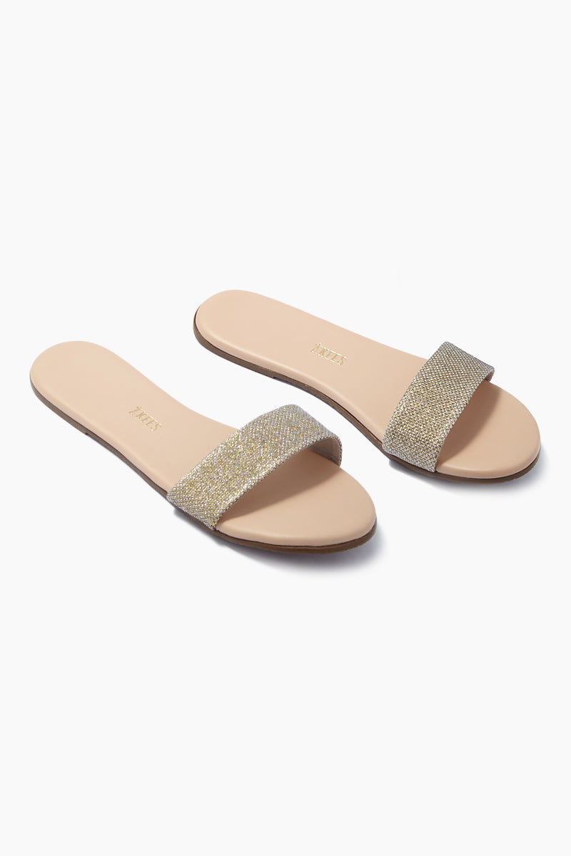 TKEES Alex Slide Sandals - Flawless Light Gold Sandals | Flawless Light Gold| TKEES Alex Sandals - Flawless Light Gold Thick Sparkly Gold Sandal Strap  Cowhide Leather Upper Cowhide Leather Insole Rubber Outsole Made in Brazil Side View