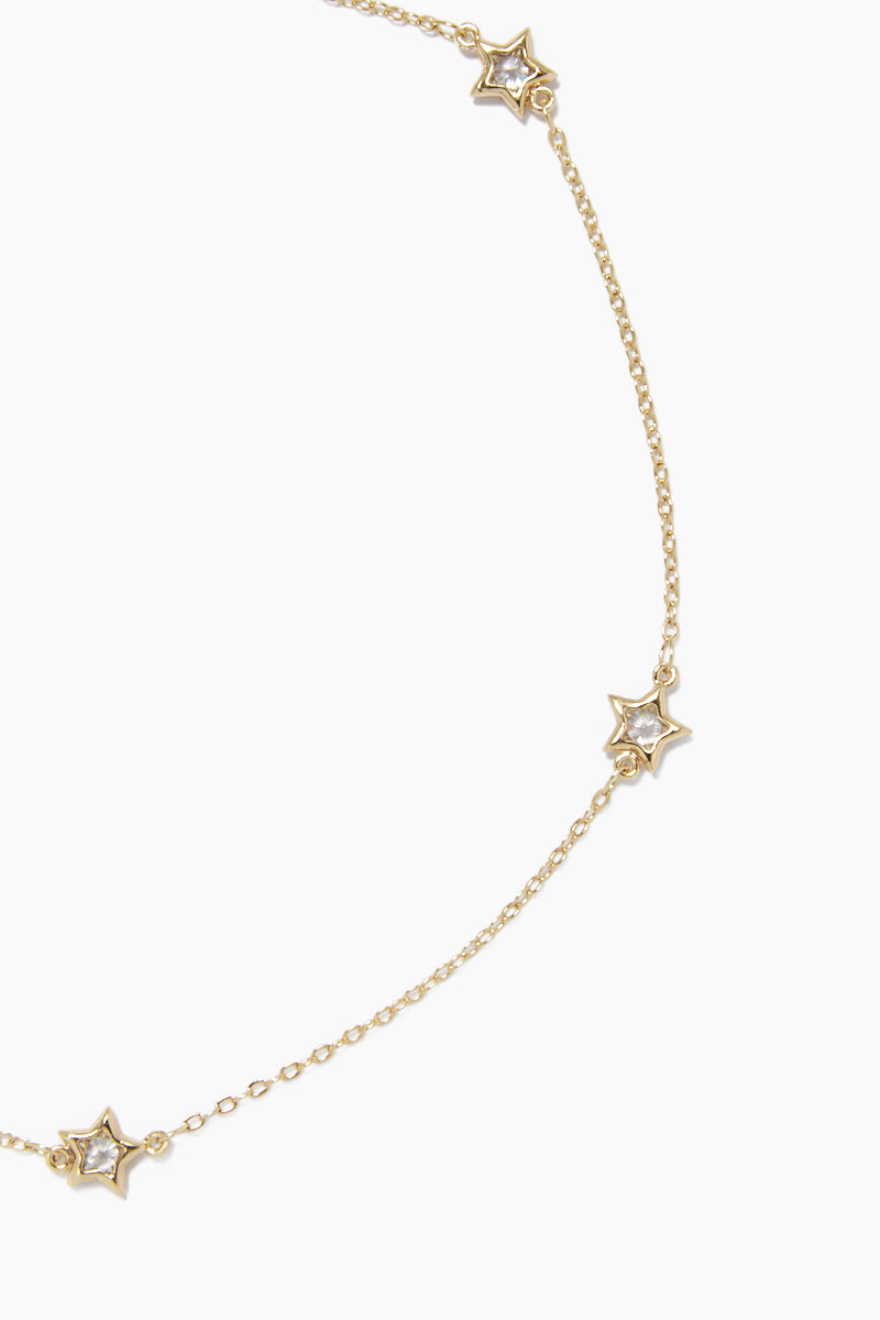 GEMELLI JEWELRY Pow! Choker Necklace - Gold Jewelry | Gold| Gemelli Jewelry Pow! Necklace - Gold. Features:  Star accent Quartz crystal detailing Adjustable lobster claw closure Front View