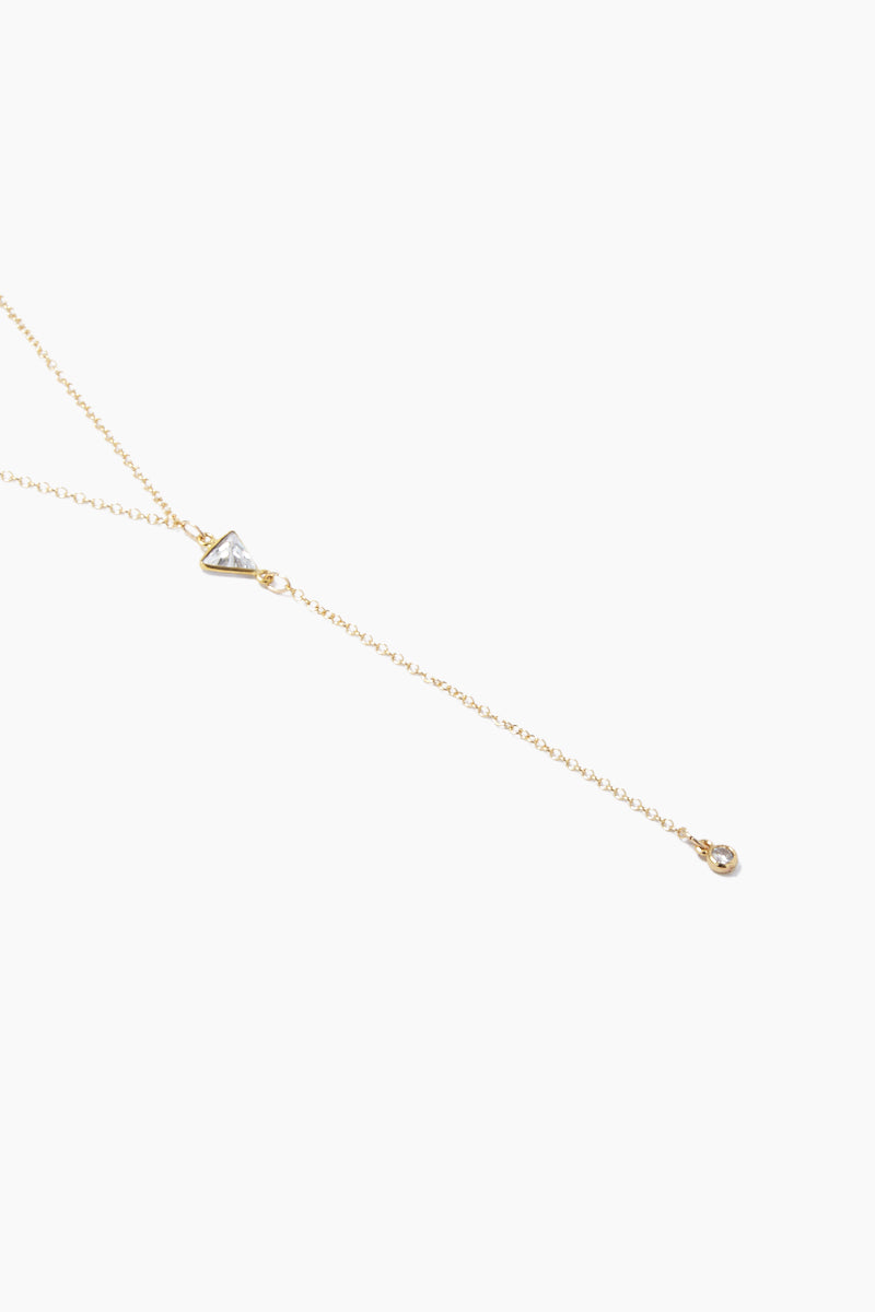 GEMELLI JEWELRY Pixie Necklace - Gold Triangle CZ Jewelry | Gold Triangle CZ| Gemelli Jewelry Pixie Necklace - Gold Triangle CZ. Features:  Gold plated Y necklace Crystal charms Lobster claw closure Front View