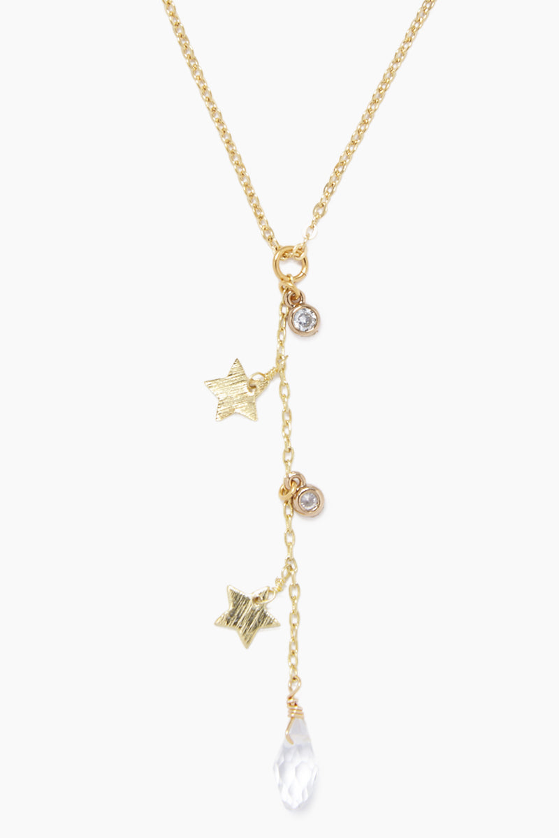 GEMELLI JEWELRY Dreamy Necklace - Gold Jewelry | Gold| Gemelli Jewelry Dreamy Necklace - Gold Gold plated necklace Stars and clear crystal charms Adjustable lobster clasp closure Front View
