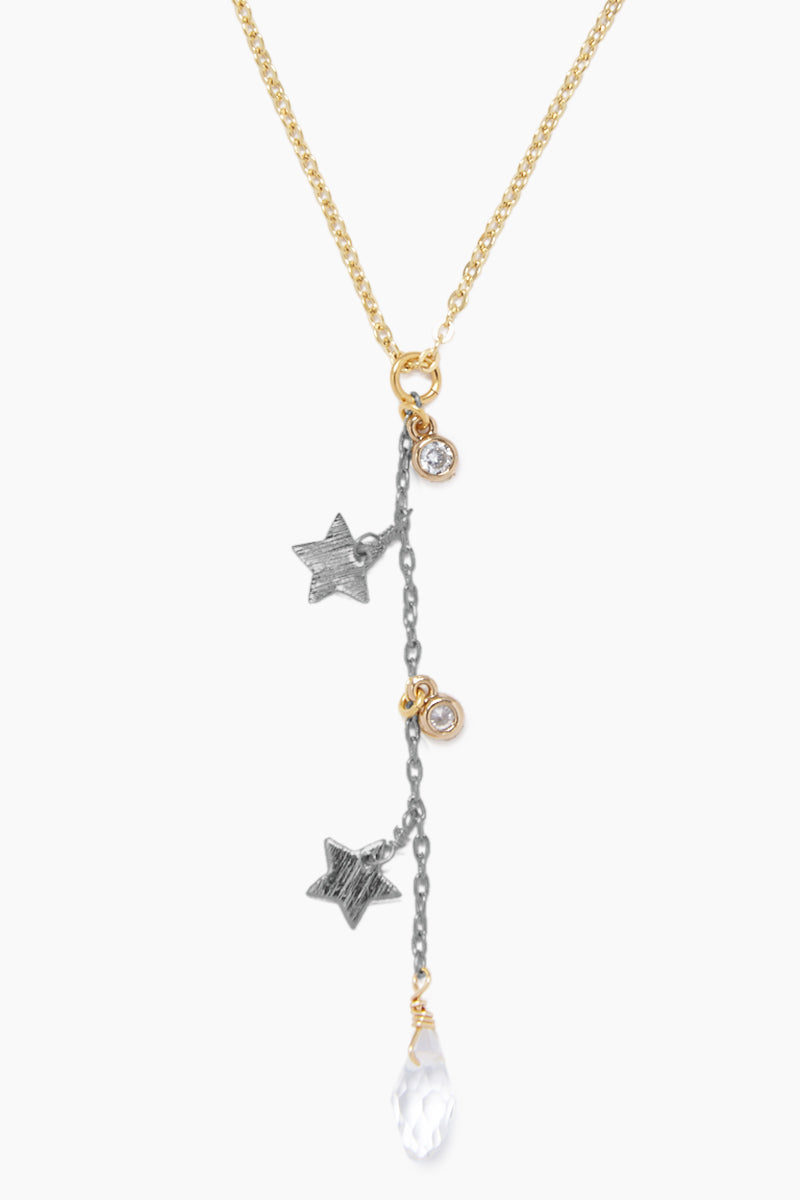 GEMELLI JEWELRY Dreamy Lariat Necklace - Gunmetal Gray & Gold Jewelry   Gunmetal Gray & Gold  Gemelli Jewelry Dreamy Necklace - Gunmetal Gray & GoldGold plated necklace Stars and clear crystal charms Adjustable lobster clasp closure Front View