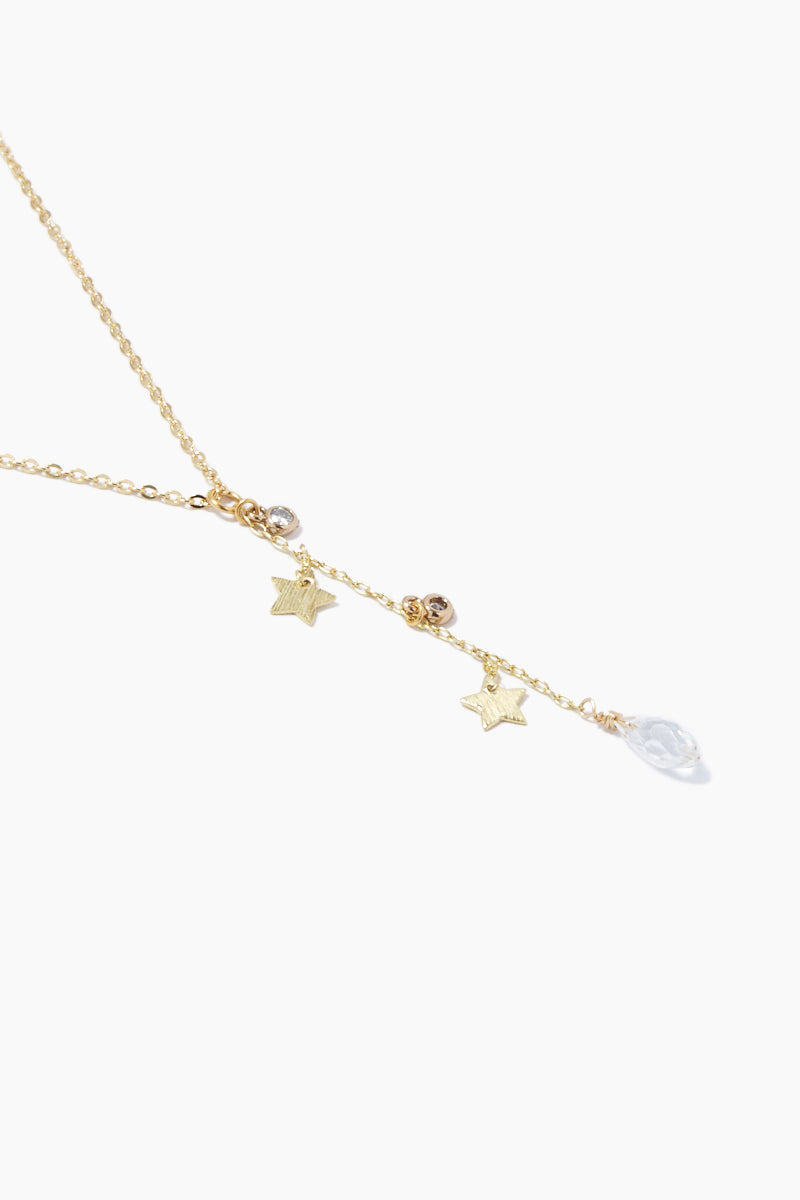 GEMELLI JEWELRY Dreamy Necklace - Gold Jewelry | Gold| Gemelli Jewelry Dreamy Necklace - Gold Gold plated necklace Stars and clear crystal charms Adjustable lobster clasp closure Close View