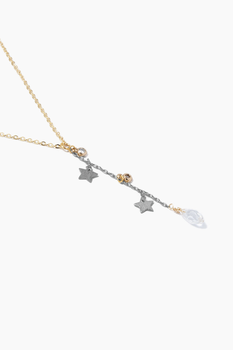 GEMELLI JEWELRY Dreamy Necklace - Gunmetal Jewelry | Gunmetal| Gemelli Jewelry Dreamy Necklace - Gunmetal Gold plated necklace Stars and clear crystal charms Adjustable lobster clasp closure Close View