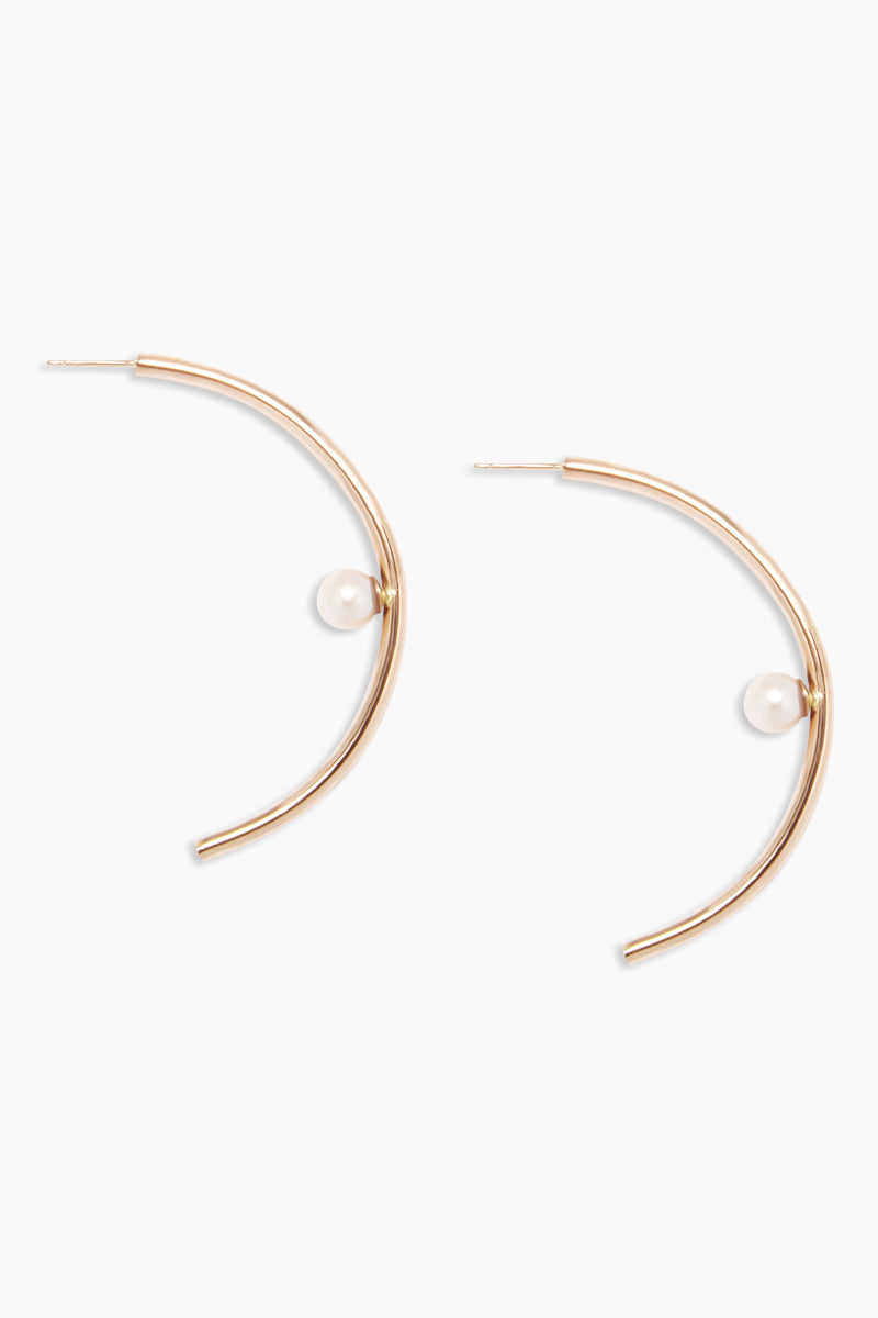 """DEA DIA JEWELRY 14k Gold Profile Earrings - Pearl Jewelry 