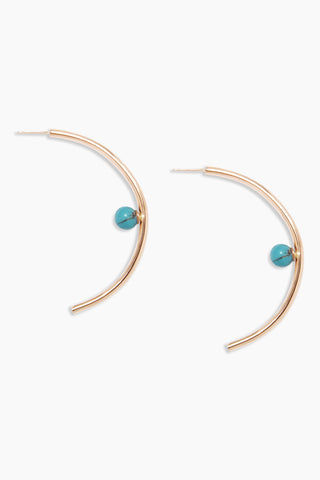 "DEA DIA JEWELRY Profile Turquoise Arc Earrings - Gold Jewelry | Gold| Dea Dia Jewelry Profile Turquoise Arc Earrings - Gold Features:  An outline seen or represented in sharp relief 2.75"" vermeil - thick 14k gold plate over silver 6mm turquoise Front View"