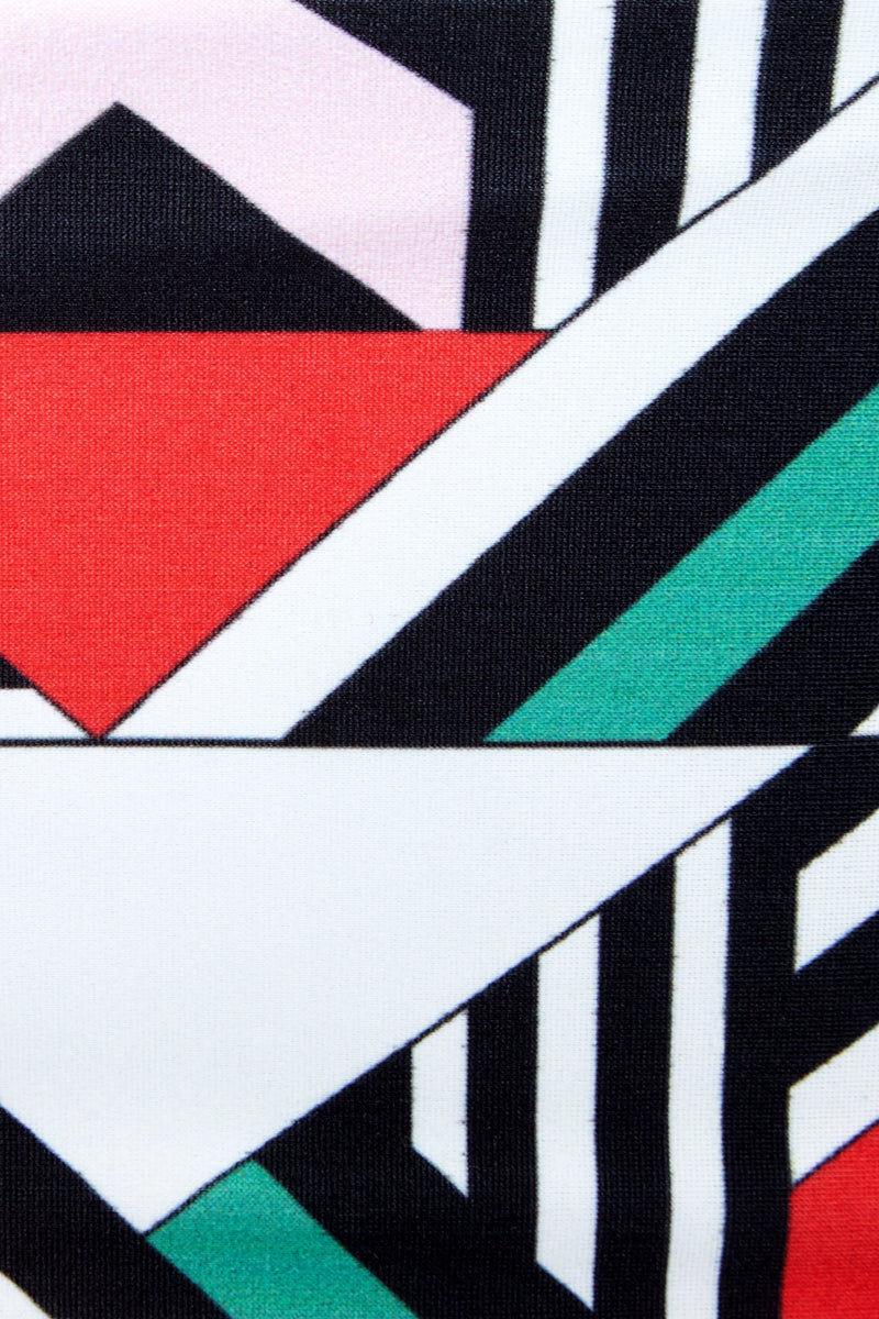 LEE + LANI Bandeau Knot Tie Bikini Top - Deco Print Bikini Top | Deco Print| Lee + Lani Bandeau Bikini Top - Deco Print Bandeau style  Tie knot detail Can be worn front or back Close View