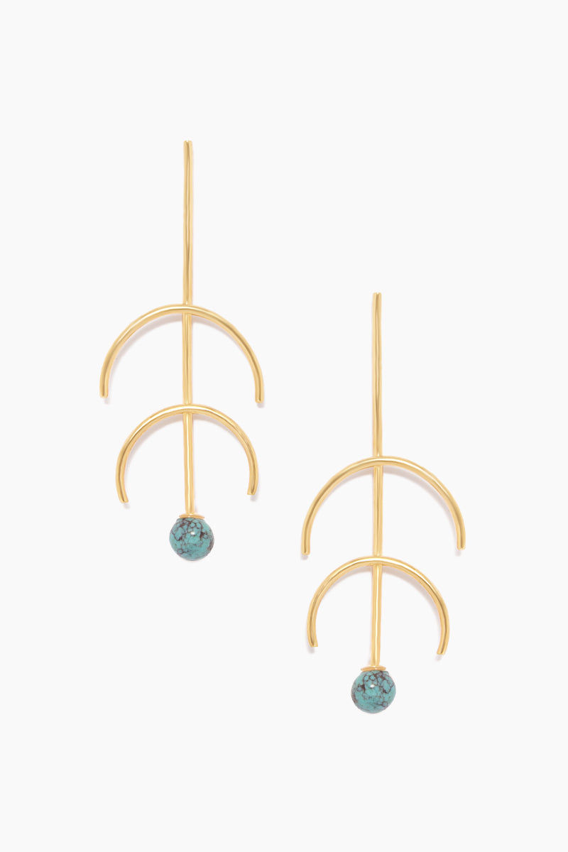 """DEA DIA JEWELRY Sequence Turquoise Double Arc Earrings - Gold Jewelry 