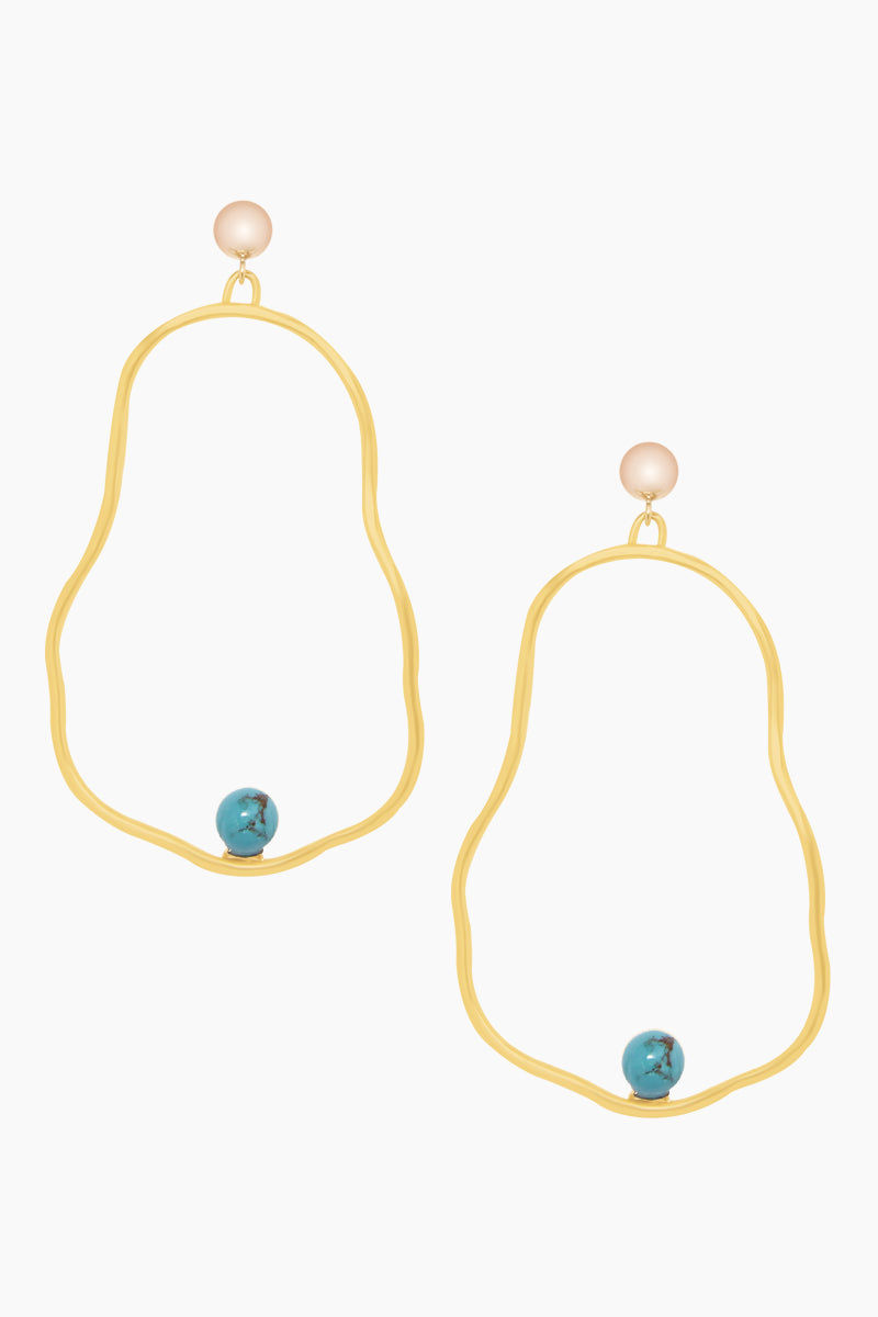 """DEA DIA JEWELRY 14k Gold Ostrea Earrings - Turquoise Jewelry 