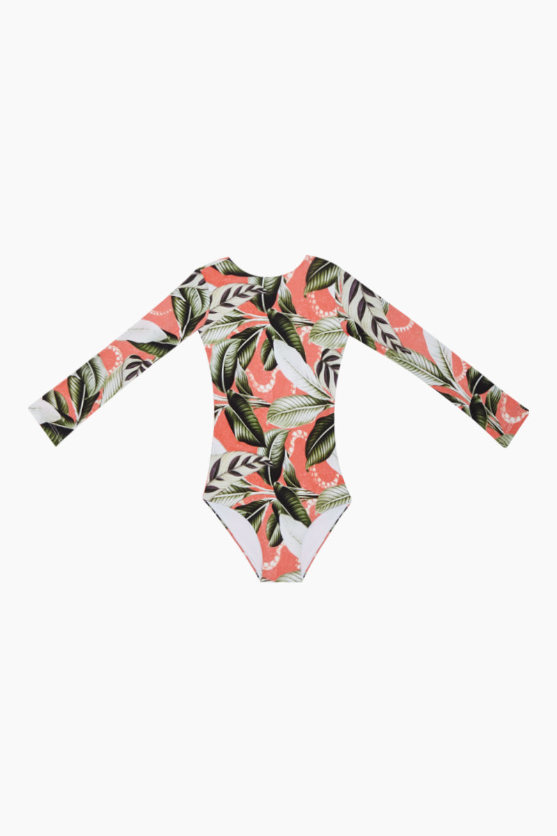 MALAI KIDS Long Sleeve One Piece Swimsuit (Kids) - Verdant Mangrow Coral Tropical Print Kids One Piece   Verdant Mangrow Coral Tropical Print  Malai Kids Long Sleeve One Piece Swimsuit ( Kids) - Verdant Mangrow Coral Tropical Print Kids long sleeve one piece  Front View
