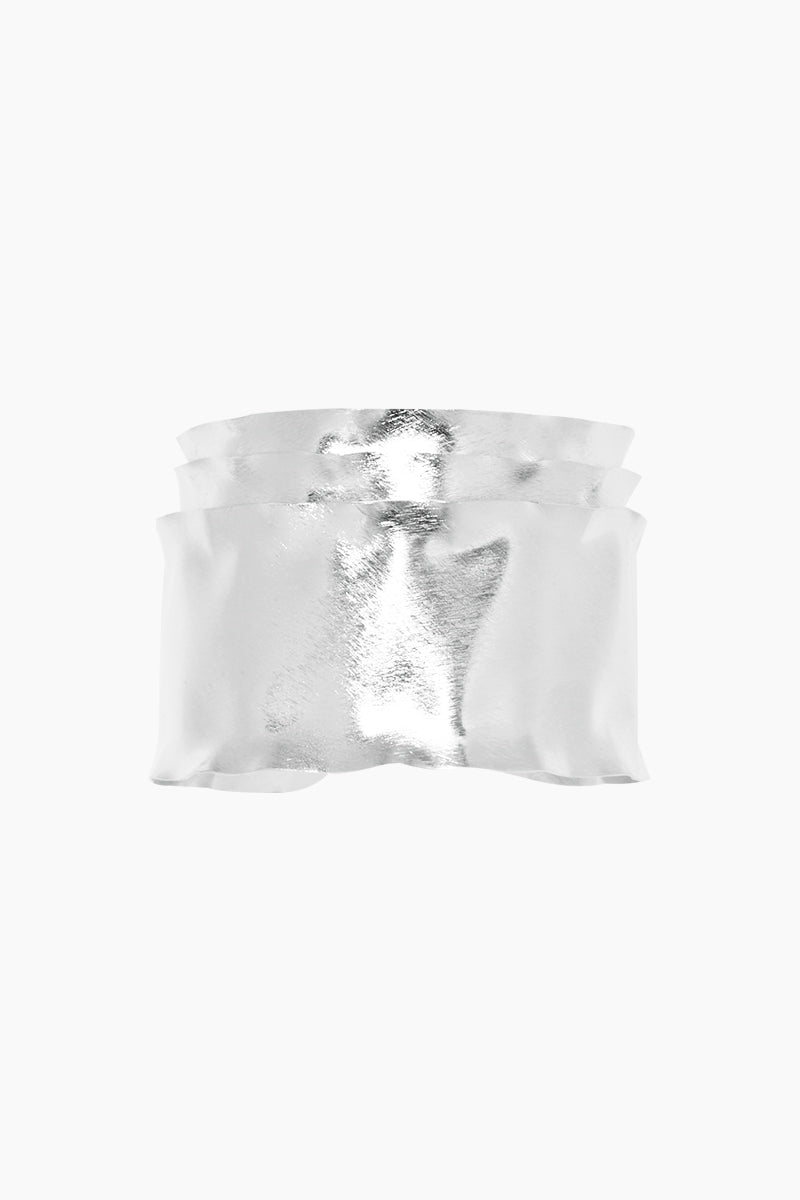 MARCIA MORAN Sandelle Bracelet - Silver Jewelry | Silver| Marcia Moran Sandelle Bracelet - Silver Triple layered rhodium plated cuff Front View