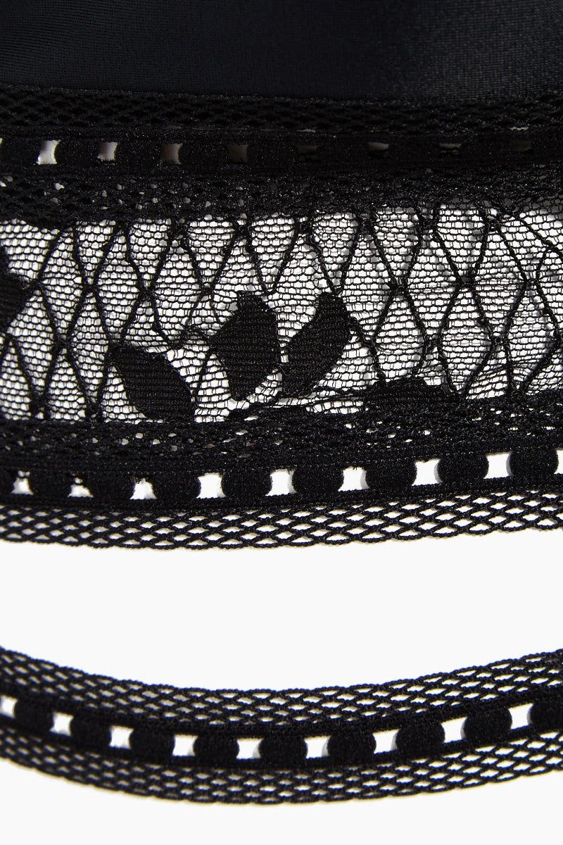 LEE + LANI Chantille Lace Halter Bustier Bikini Top - Black Lace Bikini Top | Black Lace| Lee + Lani Chantille Lace Halter Bustier Bikini Top - Black Lace Triangle bustier Deep v neckline Halter neck tie French chantille lace detail  Cut out front detail Close View