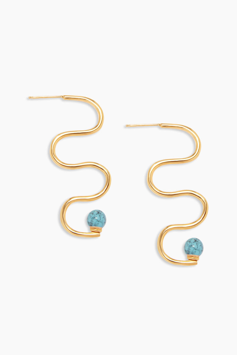 "DEA DIA JEWELRY Squiggle Turquoise Earrings - Gold Jewelry | Gold| Squiggle Turquoise Earrings - Gold Features:  Thick squiggle shape adorned 3"" long In vermeil - thick 14k gold plate over silver 6mm Turquoise Front View"