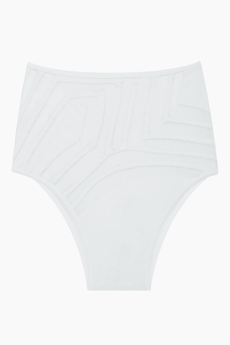 LEE + LANI Desert Storm Mesh High Waisted Bikini Bottom - White Bikini Bottom | White| Desert Storm Mesh High Waisted Bikini Bottom - White High waist Geometric mesh detail  cheeky coverage  Front View
