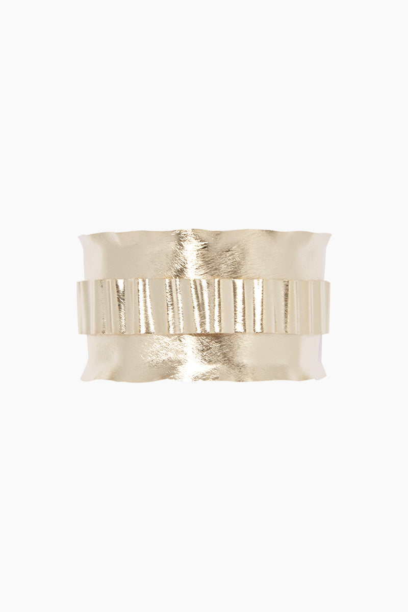 MARCIA MORAN Walynn Bracelet - Gold Jewelry | Gold| Marcia Moran Walynn Bracelet - Gold 18k gold plated cuff with textured metal overlay Front View