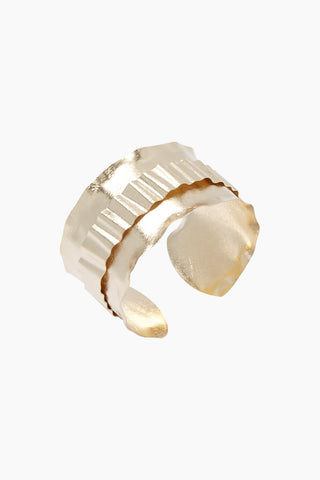 MARCIA MORAN Walynn Bracelet - Gold Jewelry | Gold| Marcia Moran Walynn Bracelet - Gold 18k gold plated cuff with textured metal overlay Side View
