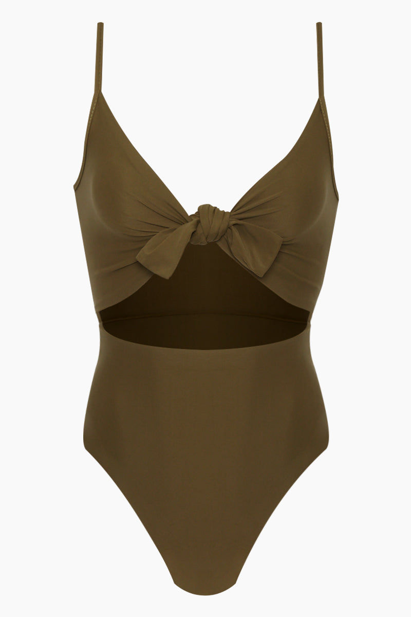 REVERSE Elora Front Cut Out One Piece Swimsuit - Olive One Piece | Olive| REVERSE Elora Front Cut Out One Piece Swimsuit - Olive V neckline  Front tie detail  Front cut out  Adjustable shoulder straps  High cut leg  Cheeky coverage Front View