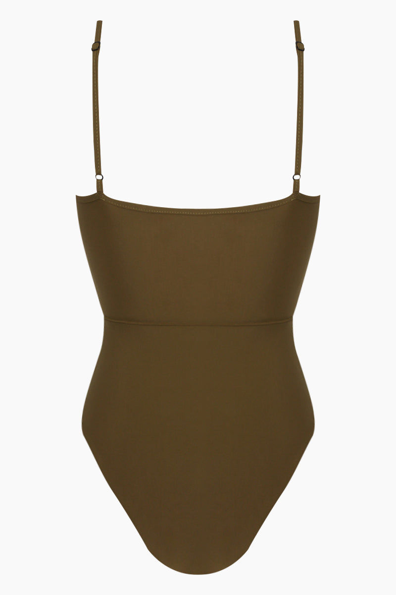 REVERSE Elora Front Cut Out One Piece Swimsuit - Olive One Piece | Olive| REVERSE Elora Front Cut Out One Piece Swimsuit - Olive V neckline  Front tie detail  Front cut out  Adjustable shoulder straps  High cut leg  Cheeky coverage Back View