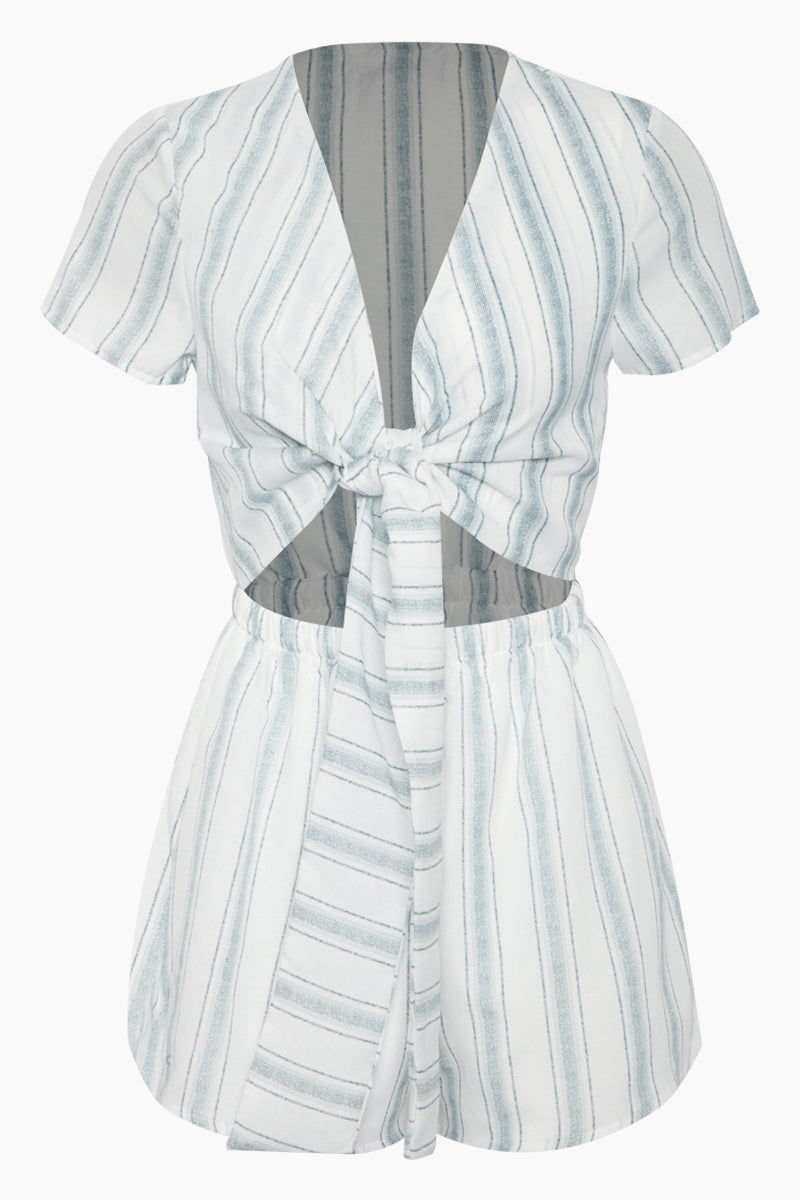 REVERSE Wait For Her Romper - White/Blue Stripes Romper | White Blue Stripe Print| REVERSE Wait For Her Romper - White Blue Stripe Print Short sleeve romper V neckline  Front tie detail  Front cut out detail Front View