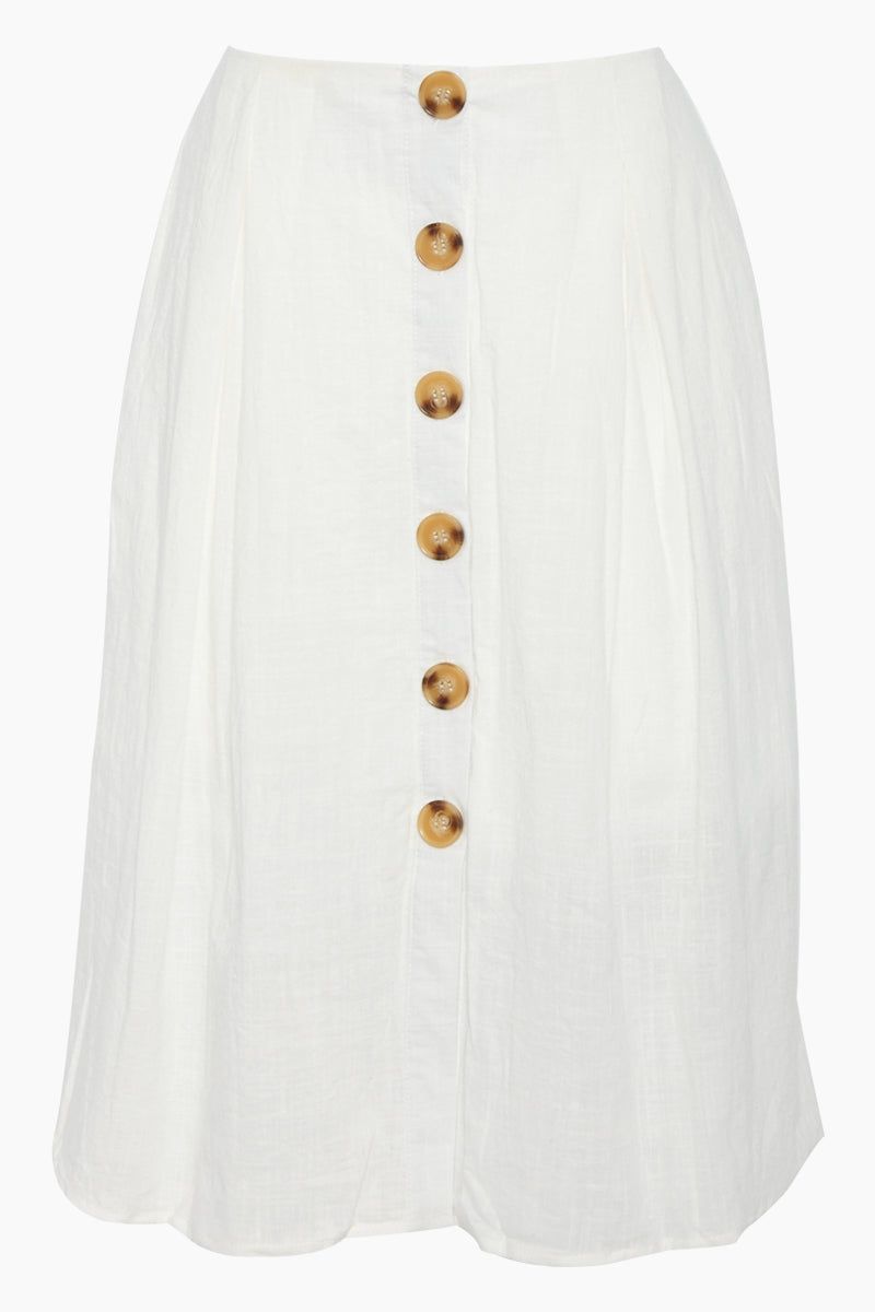 REVERSE Ryna Button Front Midi Skirt - White Skirt | White| REVERSE Ryna Skirt - White Midi skirt  High waist Front button closure  Front View