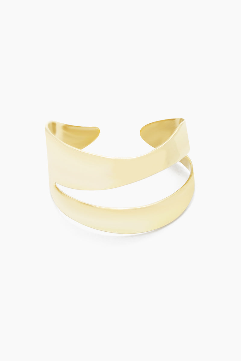 SOKO JEWELRY Wimbi Statement Bracelet - Brass Jewelry   Brass  Soko Jewelry Wimbi Statement Bracelet - Brass Statement bracelet cuff Asymmetric cut out detail Recycled polished brass Handcrafted in Kenya Front View