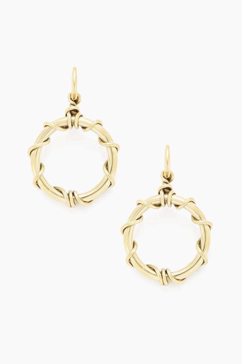 SOKO JEWELRY Kamba Dangle Earrings - Brass Jewelry | Brass| Soko Jewelry Kamba Dangle Earrings - Brass Dangle hoop earrings Recycled polished brass Handcrafted in Kenya  Front View