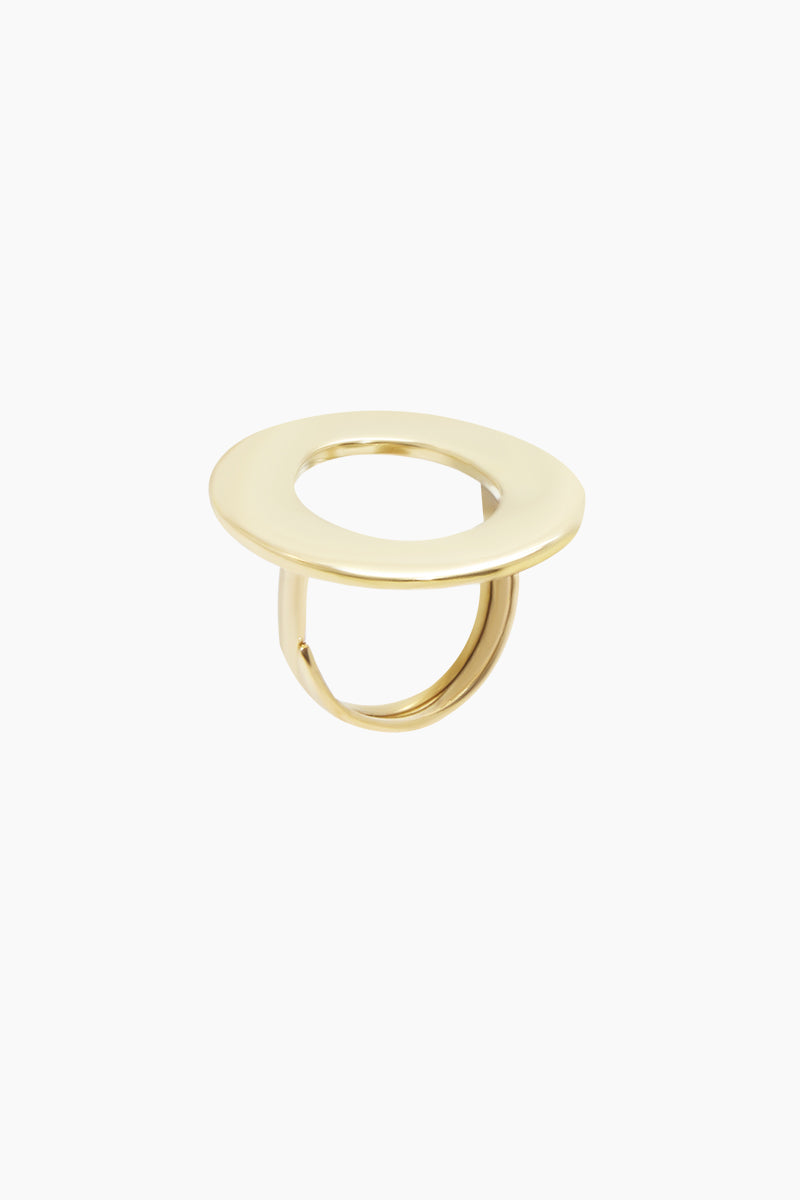 SOKO JEWELRY Open Oval Statement Ring - Brass Jewelry   Brass  Soko Jewelry Open Oval Statement Ring - Brass Statement ring Oval shaped cut out detail   Recycled polished brass Handcrafted in Kenya Front View