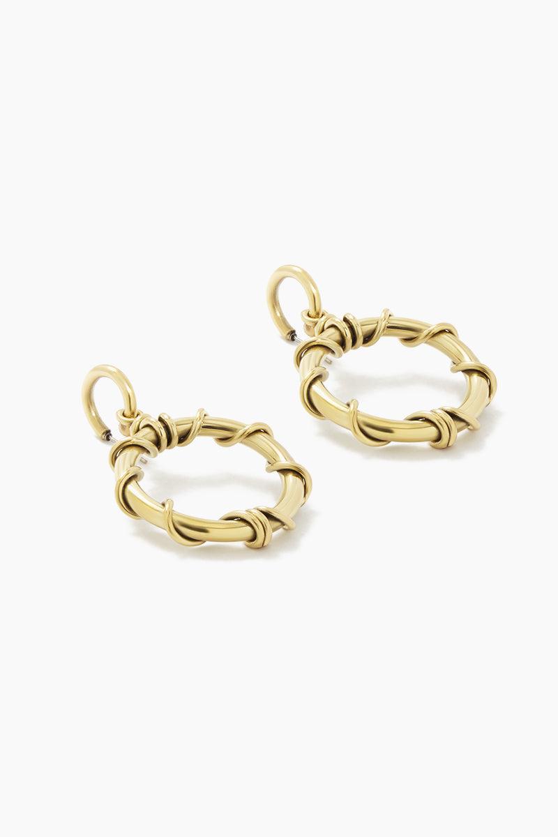 SOKO JEWELRY Kamba Dangle Earrings - Brass Jewelry | Brass| Soko Jewelry Kamba Dangle Earrings - Brass Dangle hoop earrings Recycled polished brass Handcrafted in Kenya  Back View