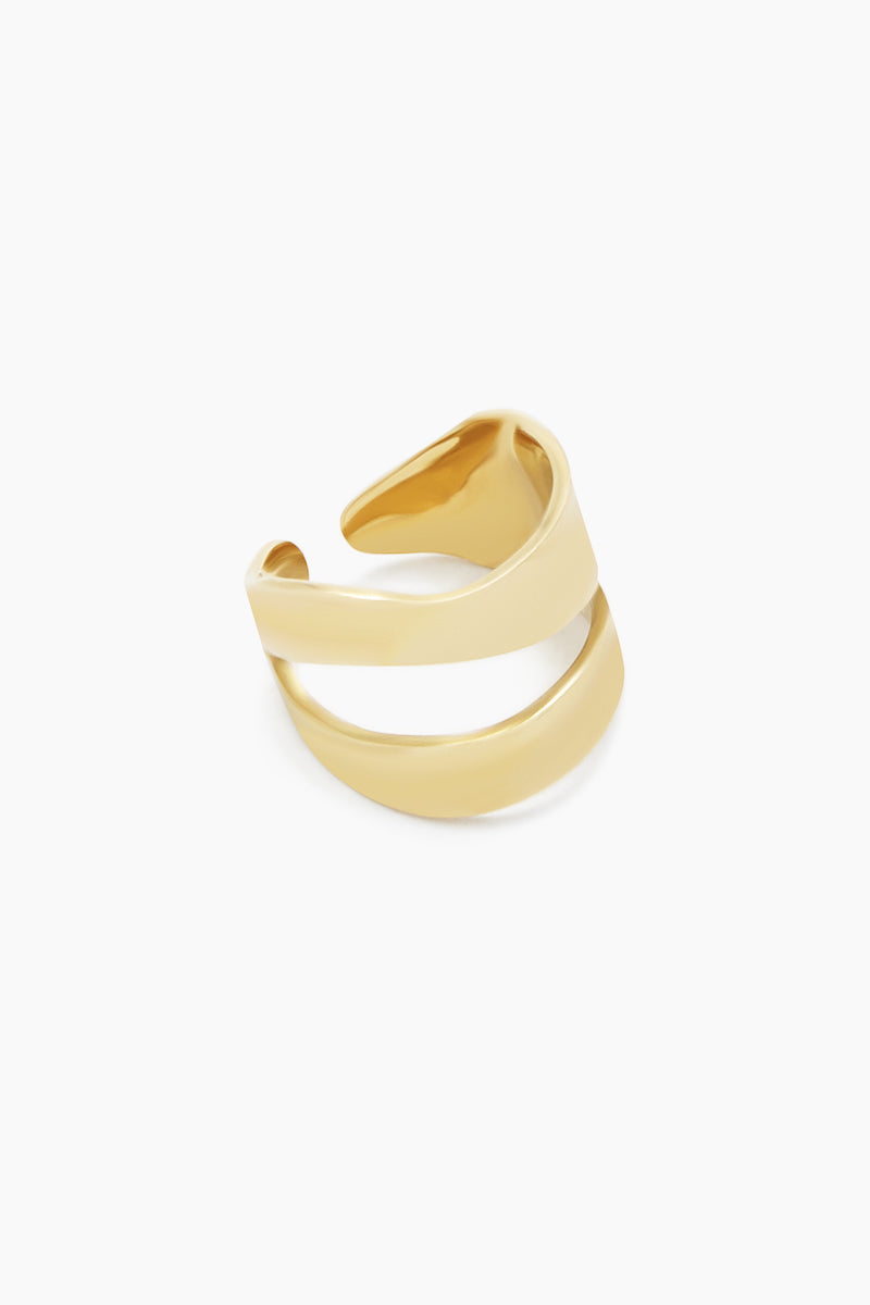 SOKO JEWELRY Wimbi Statement Ring - Brass Jewelry | Brass| Soko Jewelry Wimbi Statement Ring - Brass Statement ring Asymmetric cut out detail Recycled polished brass Handcrafted in Kenya  Frotn View