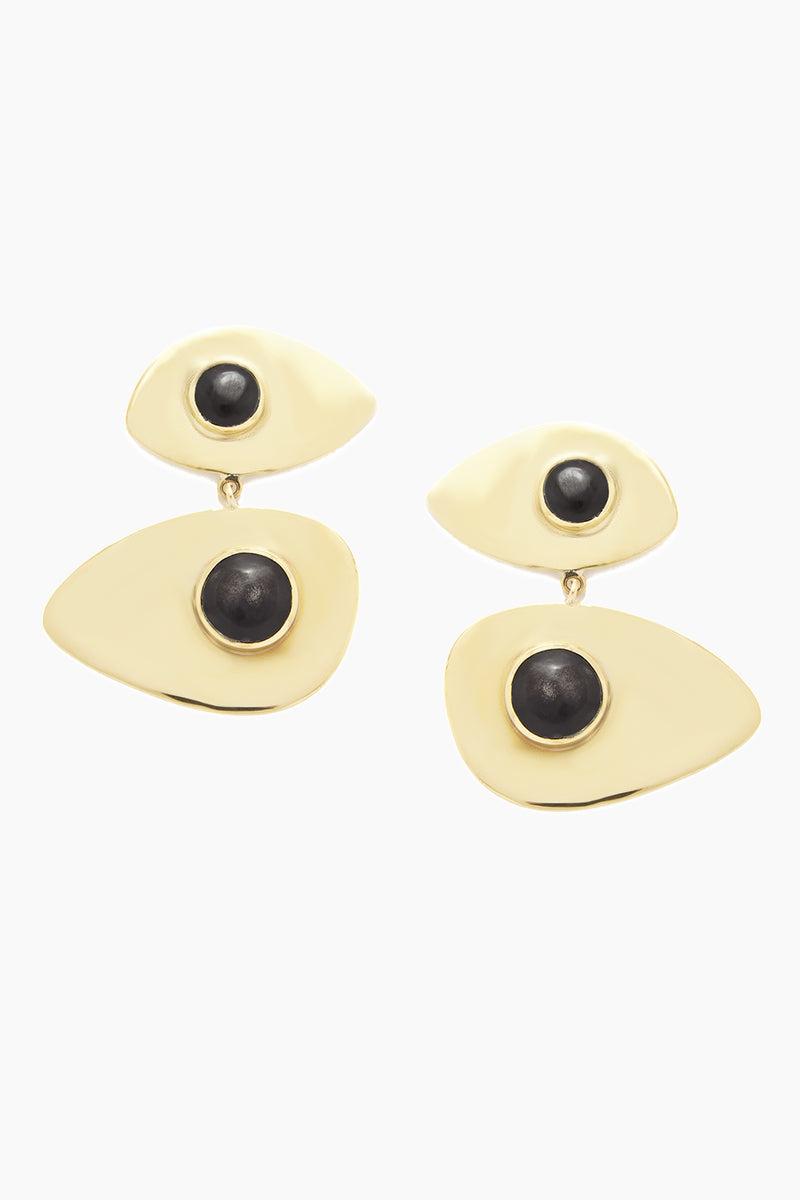SOKO JEWELRY Bata Statement Earrings - Black Jewelry | Black| Soko Jewelry Bata Statement Earrings - Black Statement asymmetrical brass dangling earrings  Black horn detail Handcrafted in brass by artisans in Kenya Front View