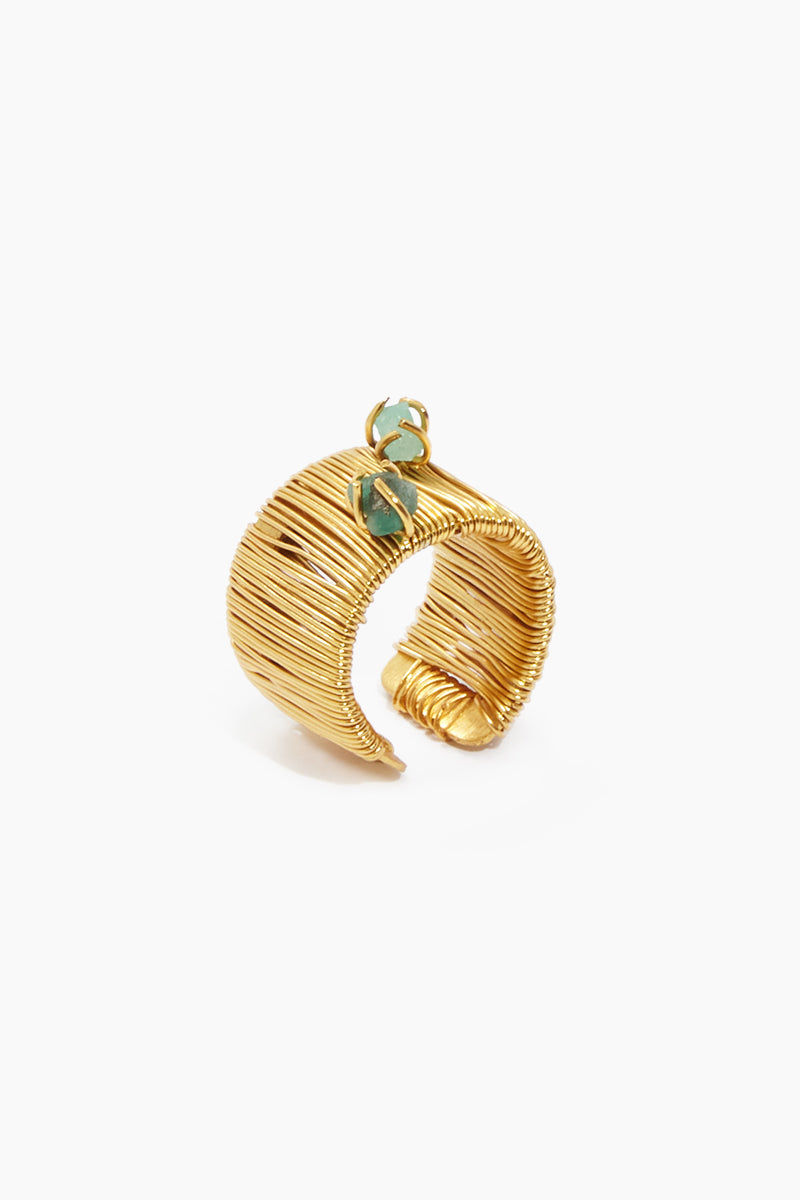 FENOMENA Emerald Vertical Ring - Gold Jewelry | Gold| Fenomena Emerald Vertical Ring - Gold. Features:  Emerald ring One size fits all ring Handmade in Colombia Front View