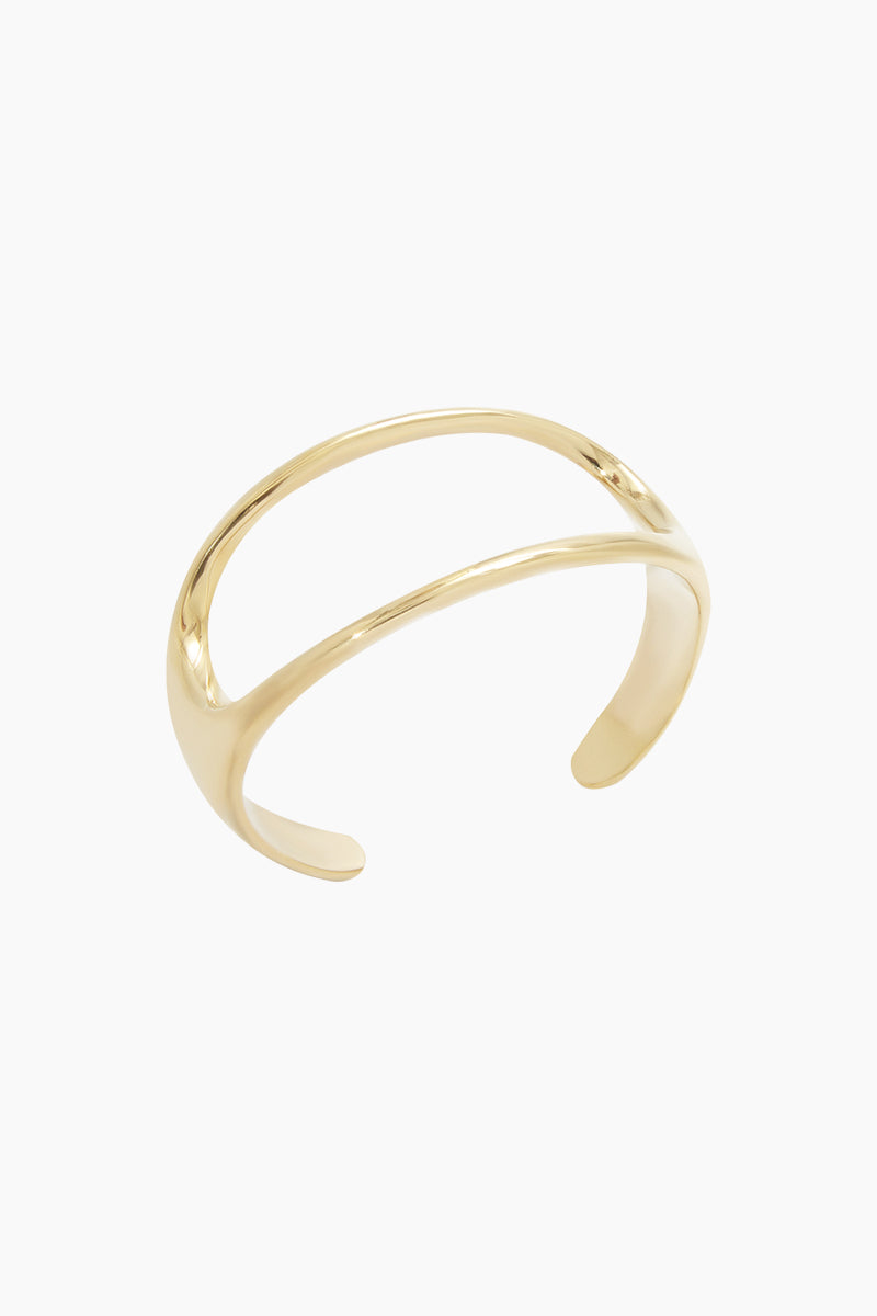 SOKO JEWELRY Open Oval Statement Cuff Bracelet - Brass Jewelry | Brass| Soko Jewelry Open Oval Statement Cuff - Brass Statement cuff Oval shaped cut out detail   Recycled polished brass Handcrafted in Kenya  Front View