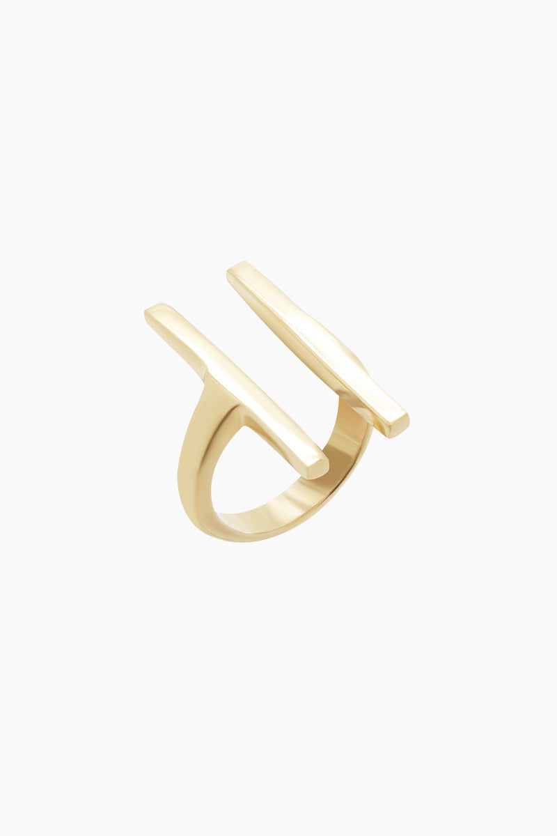 SOKO JEWELRY Double Bar Ring - Brass Jewelry | Brass| Soko Jewelry Double Bar Ring - Brass Double bar detail Recycled polished brass Handcrafted in Kenya Front View