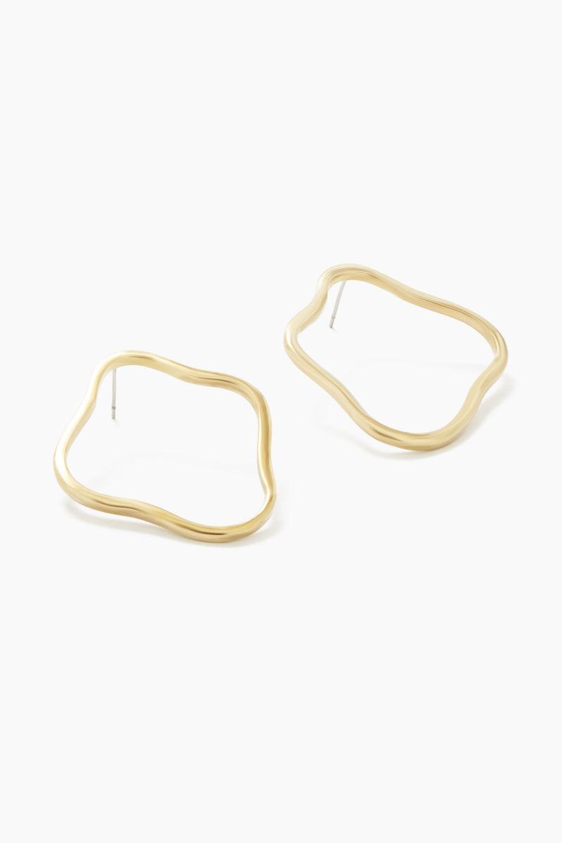SOKO JEWELRY Unda Outline Stud Hoop Earrings - Brass Jewelry | Brass| Soko Jewelry Unda Outline Stud - Brass Asymmetric outlined studs earrings Recycled polished brass Handcrafted in Kenya Front View